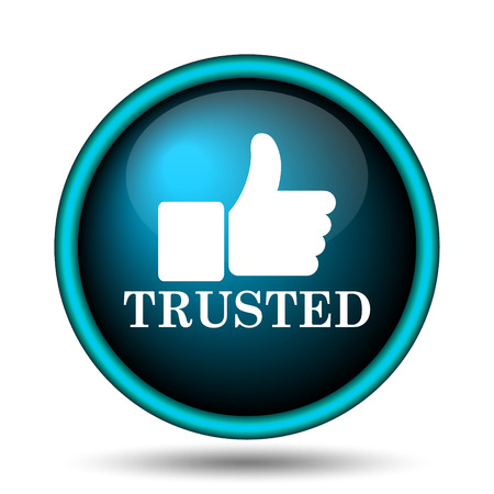 trusted: Trusted icon. Internet button on white background.  Stock Photo