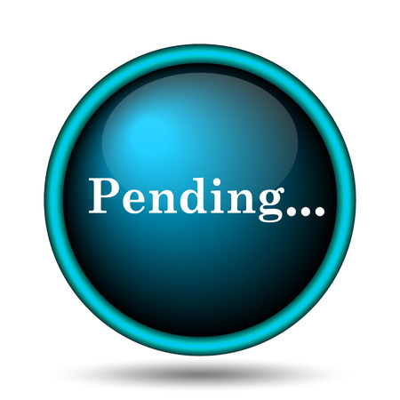 reviewed: Pending icon. Internet button on white background.  Stock Photo