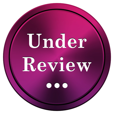 reviewed: Mauve metallic icon. Internet button on white background.