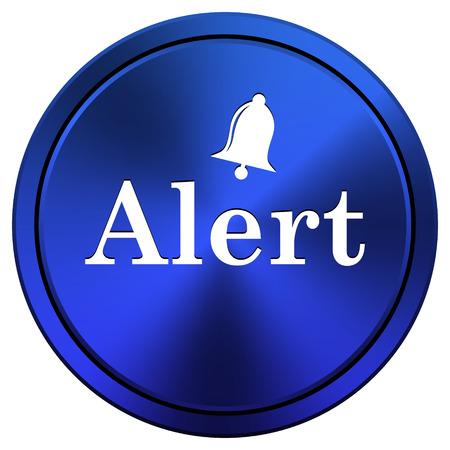 alert ribbon: Blue metallic icon. Internet button on white background