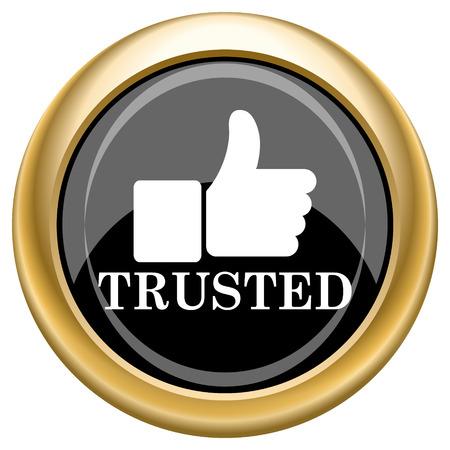trusted: Black shiny glossy icon on white background.