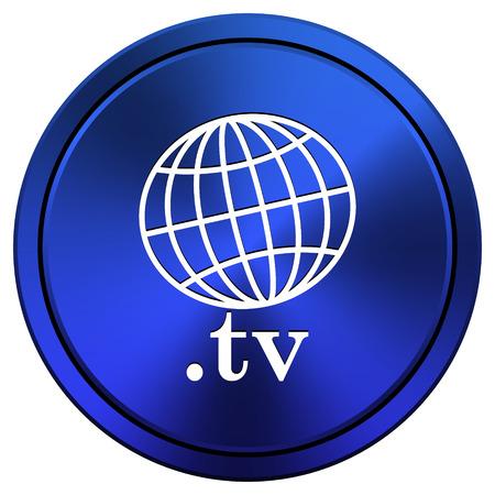 Blue metallic icon. Internet button on white background photo