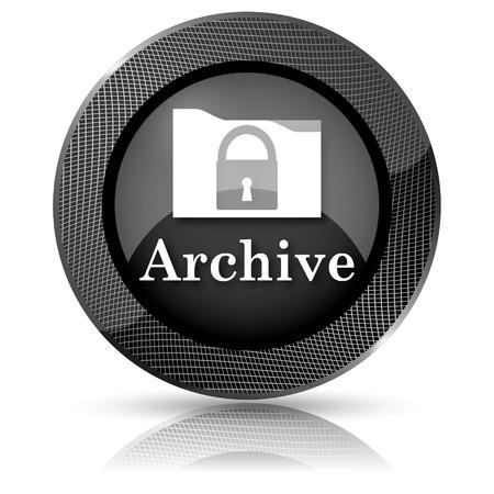 protected database: Black shiny glossy icon. Internet button on white background. Stock Photo