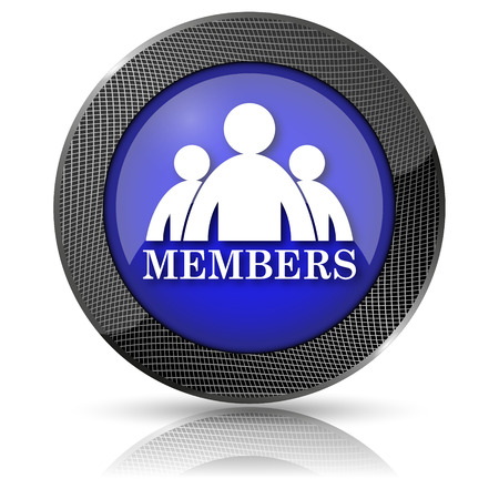 join here: Blue shiny glossy icon on white background