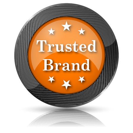 trusted: Orange shiny glossy icon on white background.