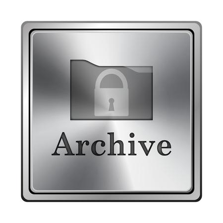 protected database: Metallic shiny glossy icon on white background