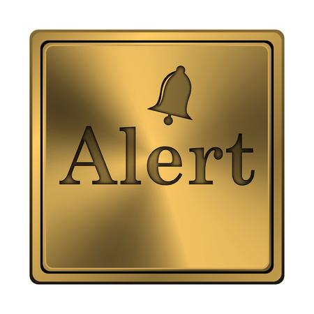 alert ribbon: Metallic shiny glossy icon on white background.
