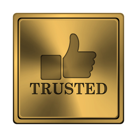 trusted: Metallic shiny glossy icon on white background.