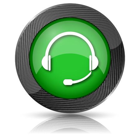 Green shiny glossy icon on white background. photo