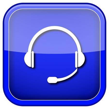 Blue shiny glossy icon on white background. photo