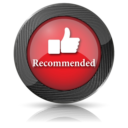 recommendations: Red shiny glossy icon on white background. Stock Photo