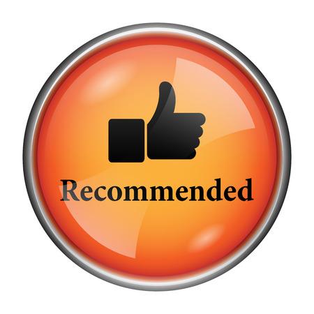 recommendations: Orange shiny glossy icon on white background.
