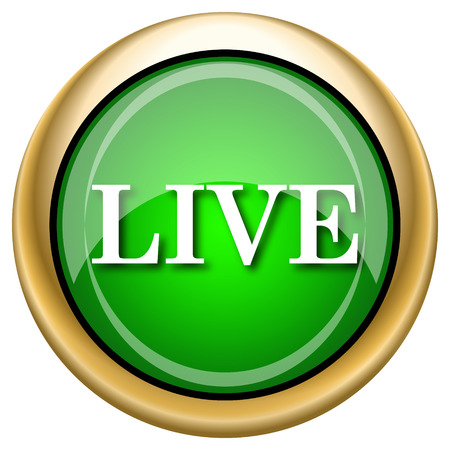 live stream sign: Green shiny glossy icon on white background.