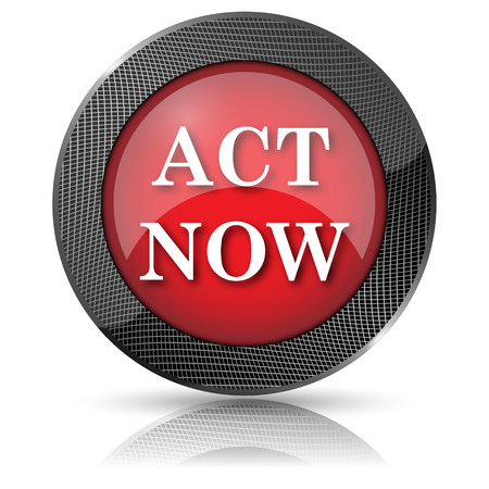 activism: Red shiny glossy icon on white background. Stock Photo