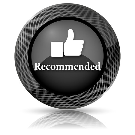 recommendations: Black shiny glossy icon. Internet button on white background. Stock Photo
