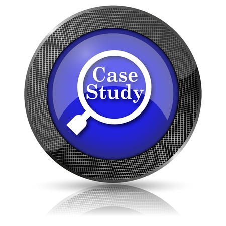 case studies: Blue shiny glossy icon on white background