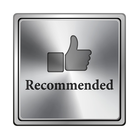 recommendations: Metallic shiny glossy icon on white background
