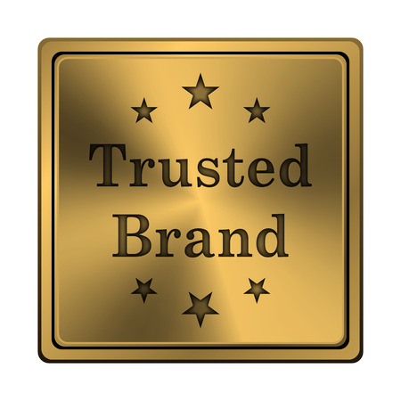 trusted: Metallic shiny glossy icon on white background.