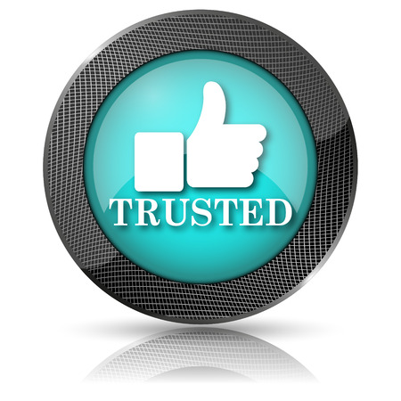 trusted: Aqua shiny glossy icon on white background.
