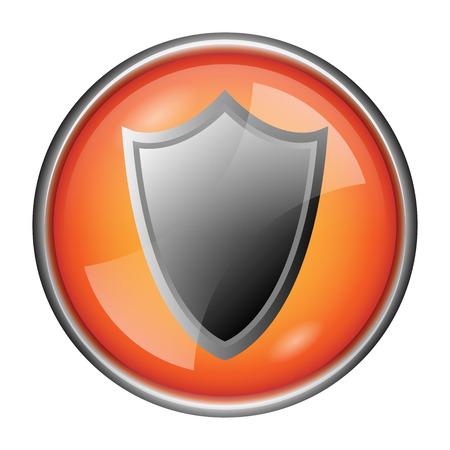 Orange shiny glossy icon on white background. photo