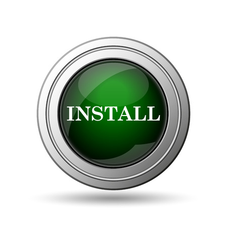 updating: Install icon. Internet button on white background.
