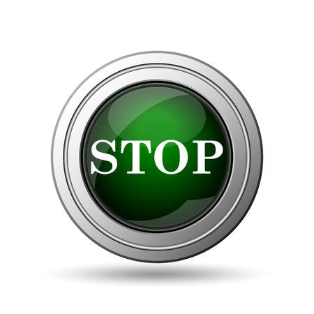 run off: Stop icon. Internet button on white background.