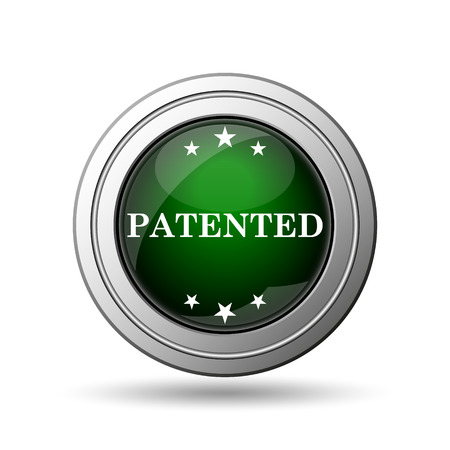 secured property: Patented icon. Internet button on white background.  Stock Photo