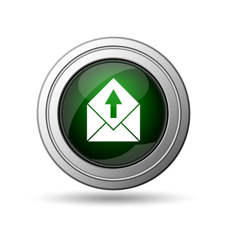 Send e-mail icon. Internet button on white background.  photo
