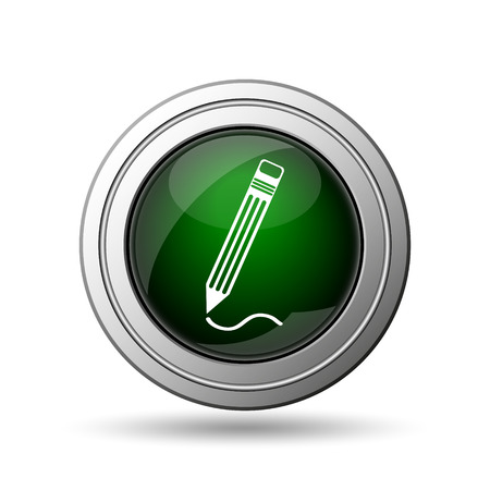 Pen icon. Internet button on white background.  photo