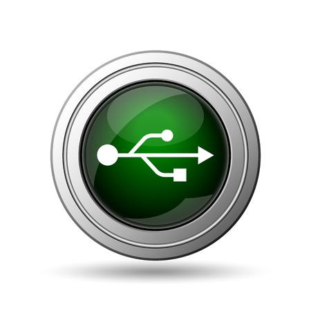 USB icon. Internet button on white background.  photo