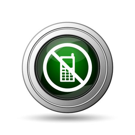 携帯電話アイコンを制限されます。白い背景の上のインターネット ボタン。