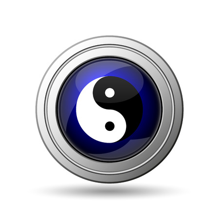 karma concept: Ying yang icon. Internet button on white background.