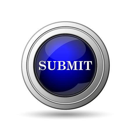 submitting: Submit icon. Internet button on white background.  Stock Photo