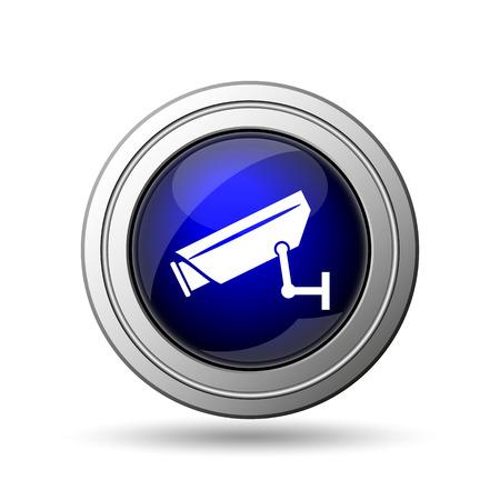 Surveillance camera icon. Internet button on white background.  photo