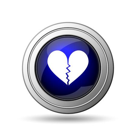 sentiment: Broken heart icon. Internet button on white background.