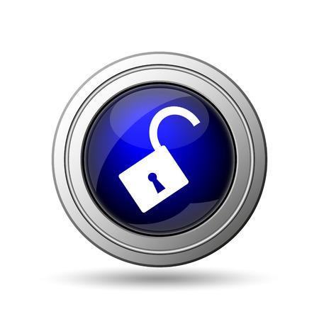 Open lock icon. Internet button on white background.  photo