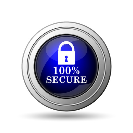 trusty: 100 percent secure icon. Internet button on white background.
