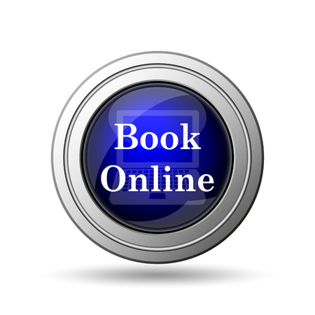 Book online icon. Internet button on white background.  photo