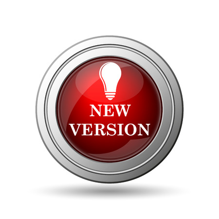 new and improved: New version icon. Internet button on white background.