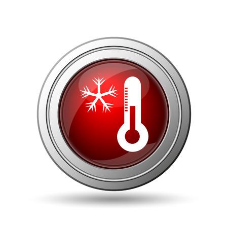 Snowflake with thermometer icon. Internet button on white background.  photo