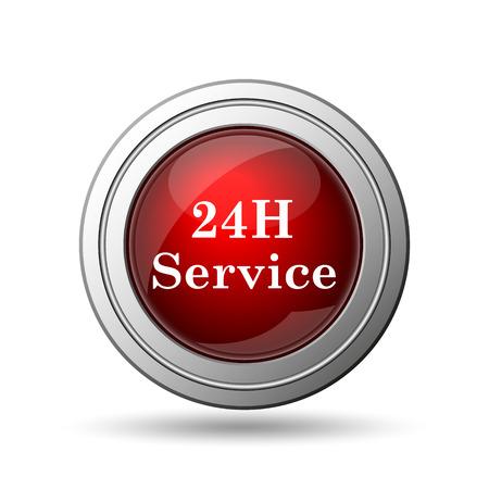 twenty four hour: 24H Service icon. Internet button on white background.  Stock Photo