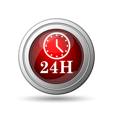 24H clock icon. Internet button on white background.  photo