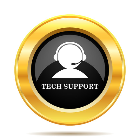 Tech support icon. Internet button on white background.  photo