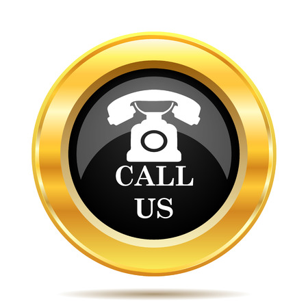 Call us icon. Internet button on white background.  photo