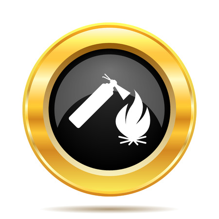 the precaution: Fire icon. Internet button on white background.  Stock Photo
