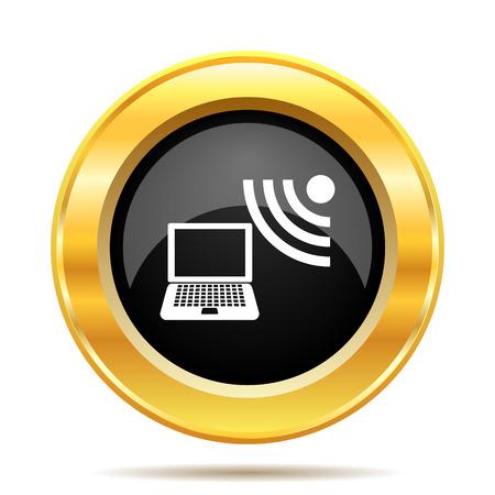 Wireless laptop icon. Internet button on white background.  photo
