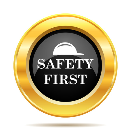 Safety first icon. Internet button on white background.  photo