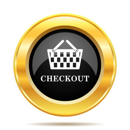 checkout button: Checkout icon. Internet button on white background.  Stock Photo