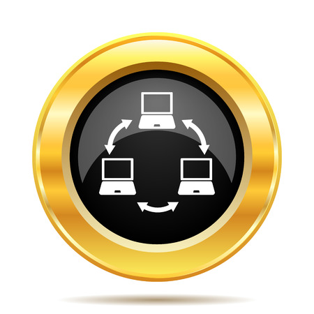 Computer network icon. Internet button on white background.  photo