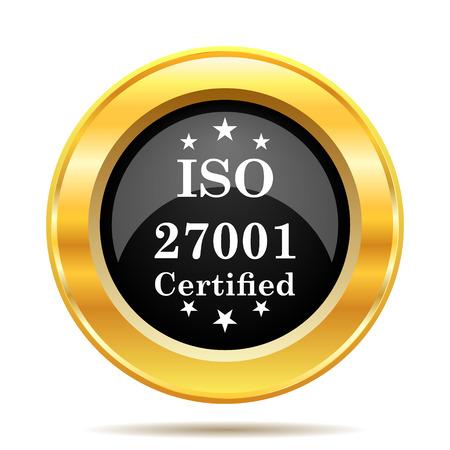 ISO 27001 icon. Internet button on white background.  photo